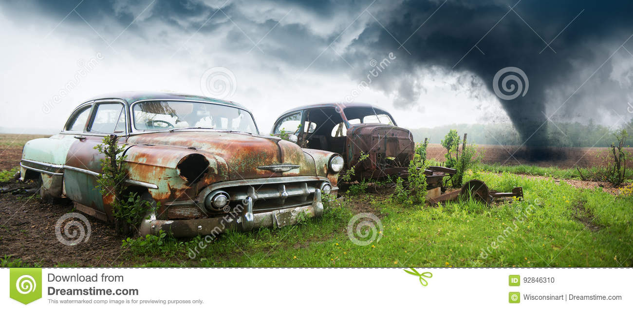 Old Classic Car Junk Yard Stock Photo Image