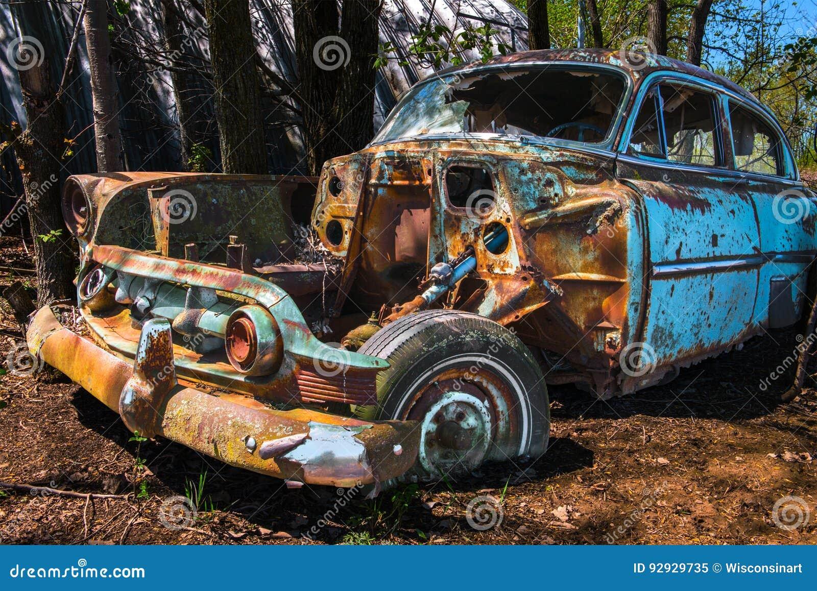 Old Classic Car, Junk Yard stock image. Image of retro - 92929735