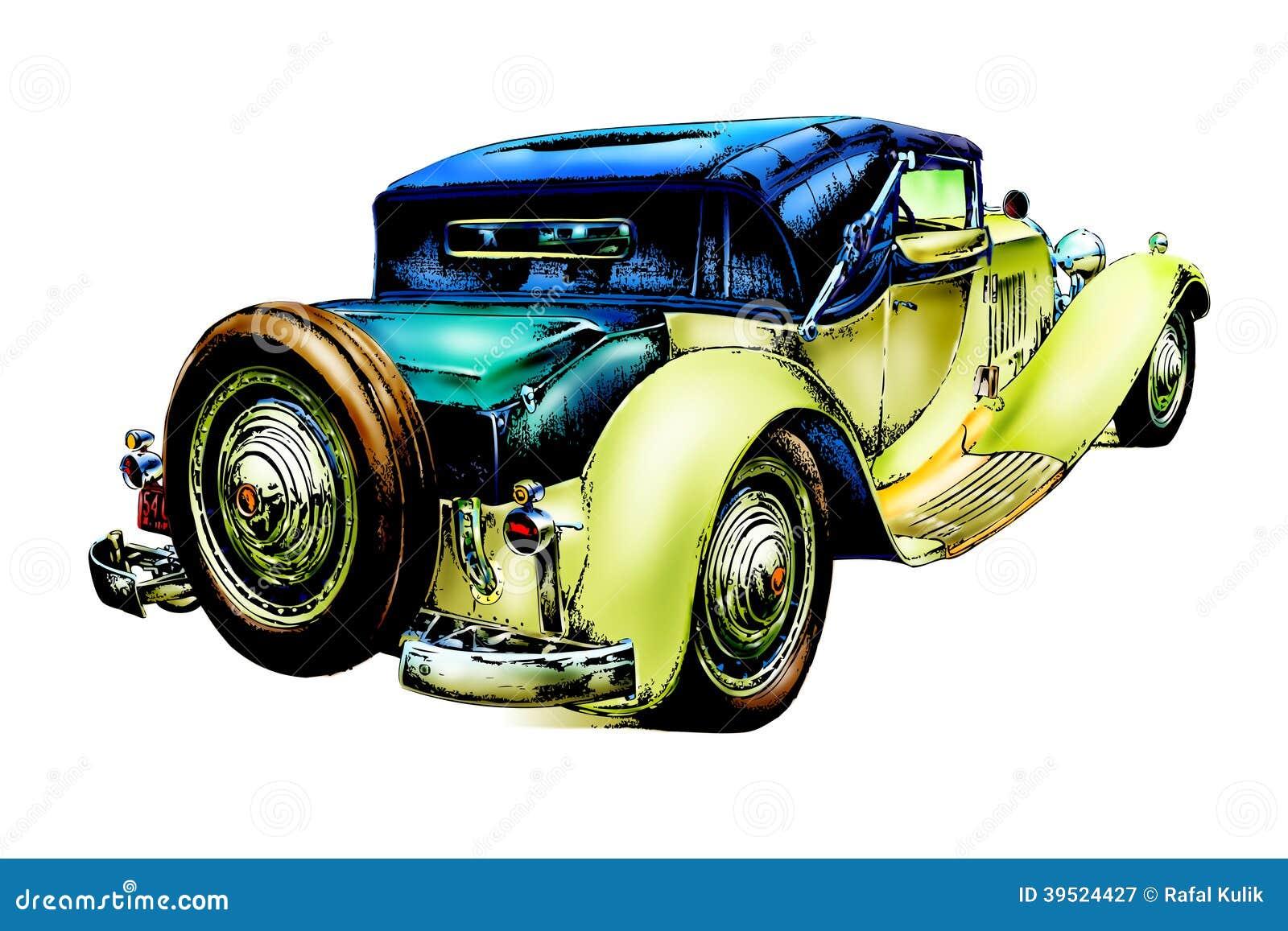 Old Classic Car Retro Vintage Stock Illustration Illustration Of