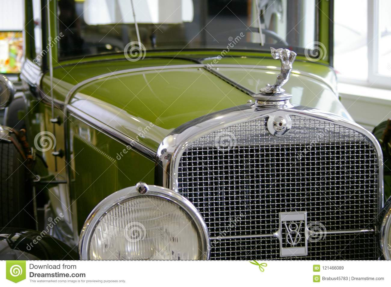 Old Classic Green Car In The Garage Under Repair Editorial Stock