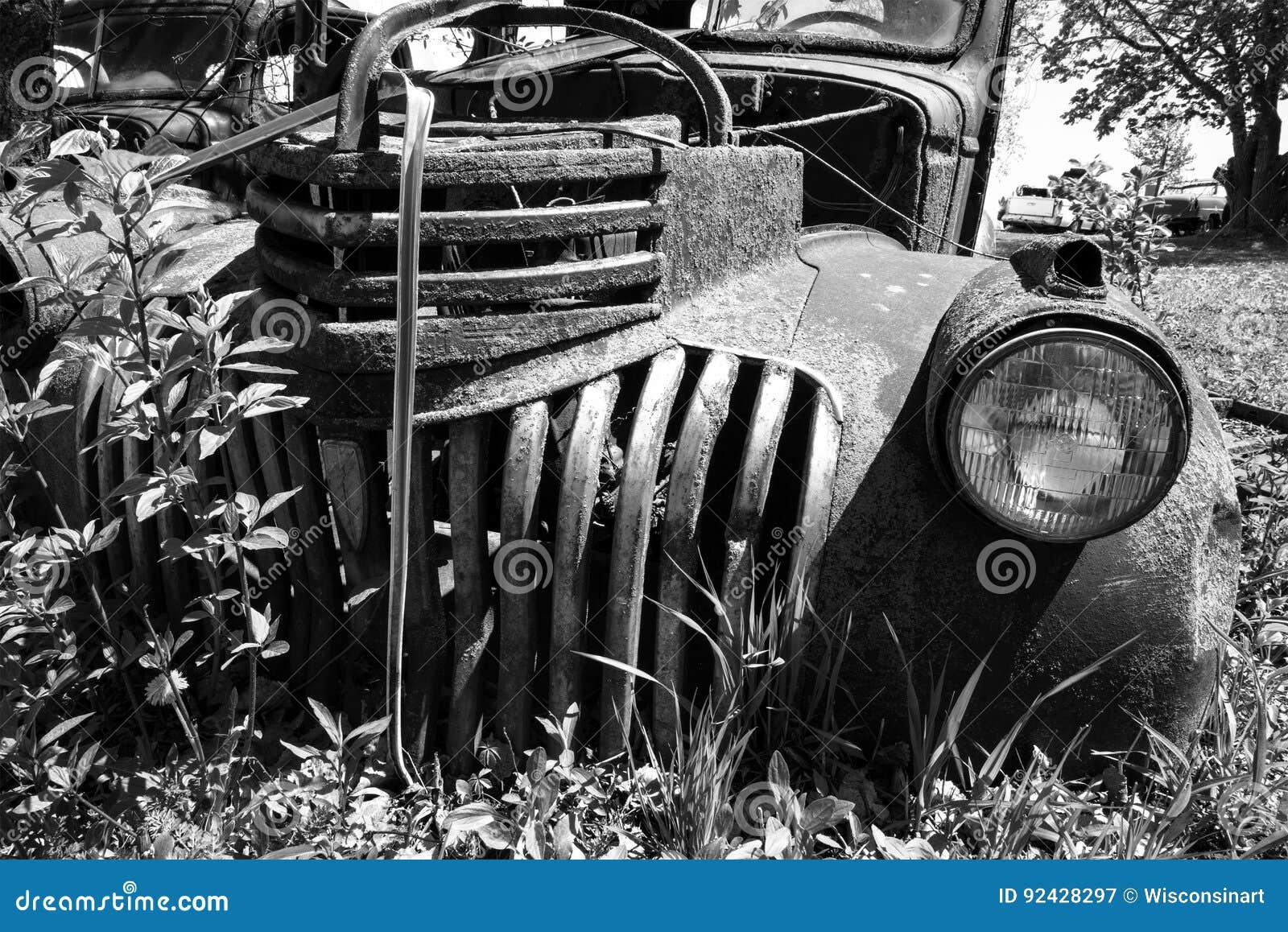 Old Classic Pickup Truck, Junkyard Stock Image - Image of classic ...