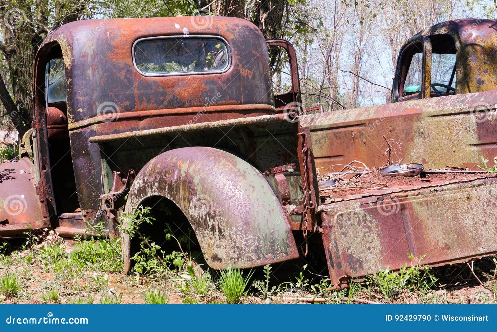 Old Classic Pickup Truck, Junkyard Stock Photo - Image of ...