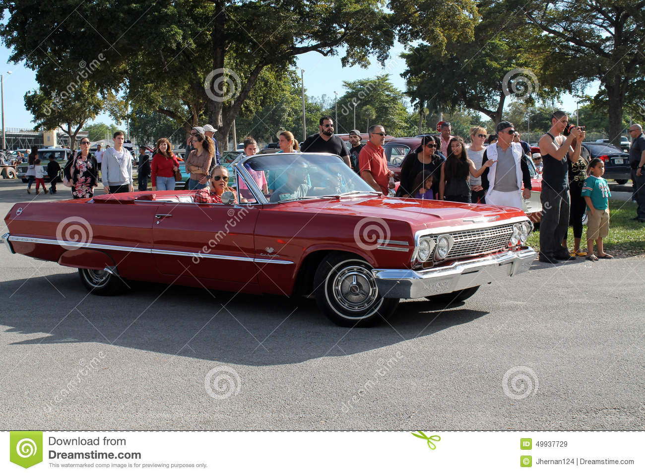Old Classic Red American Convertible Editorial Stock Image - Image ...