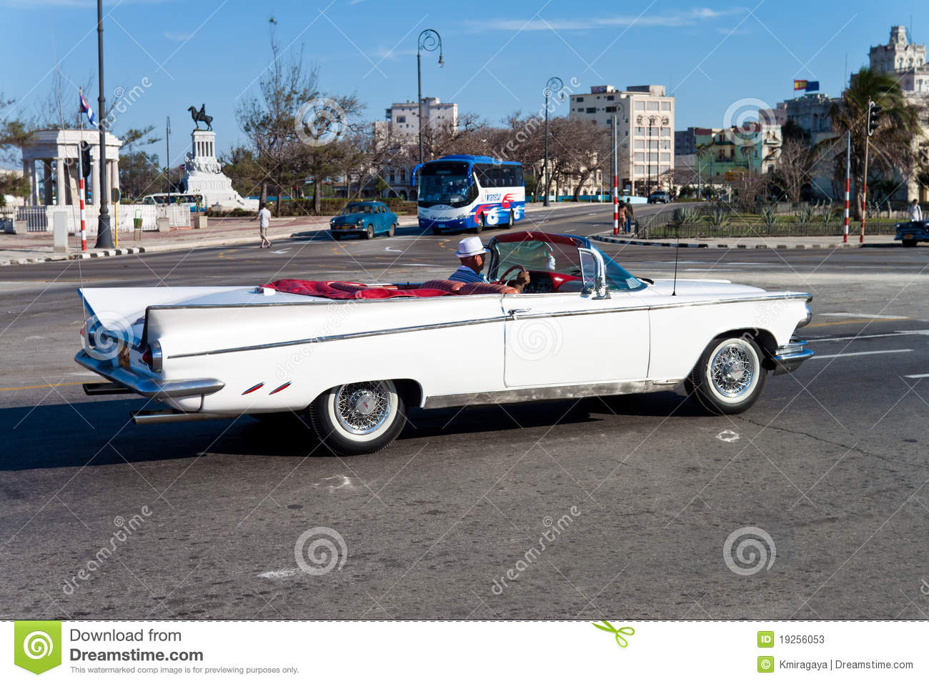 Old Classic White Convertible Car In Havana Editorial Stock Photo ...