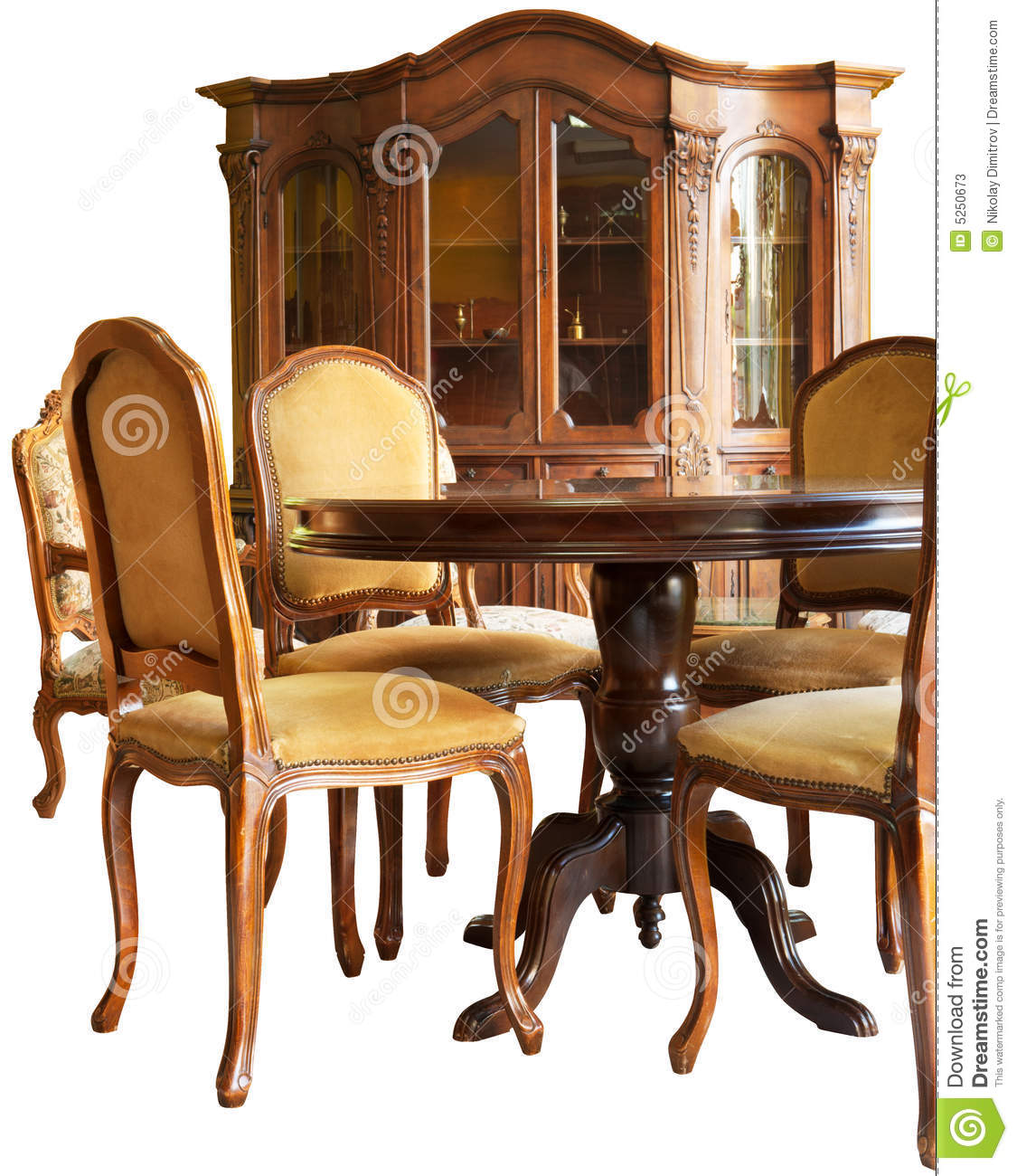 Old Classic Wooden Furniture With Handmade Woodcar Stock Image Image 5250673