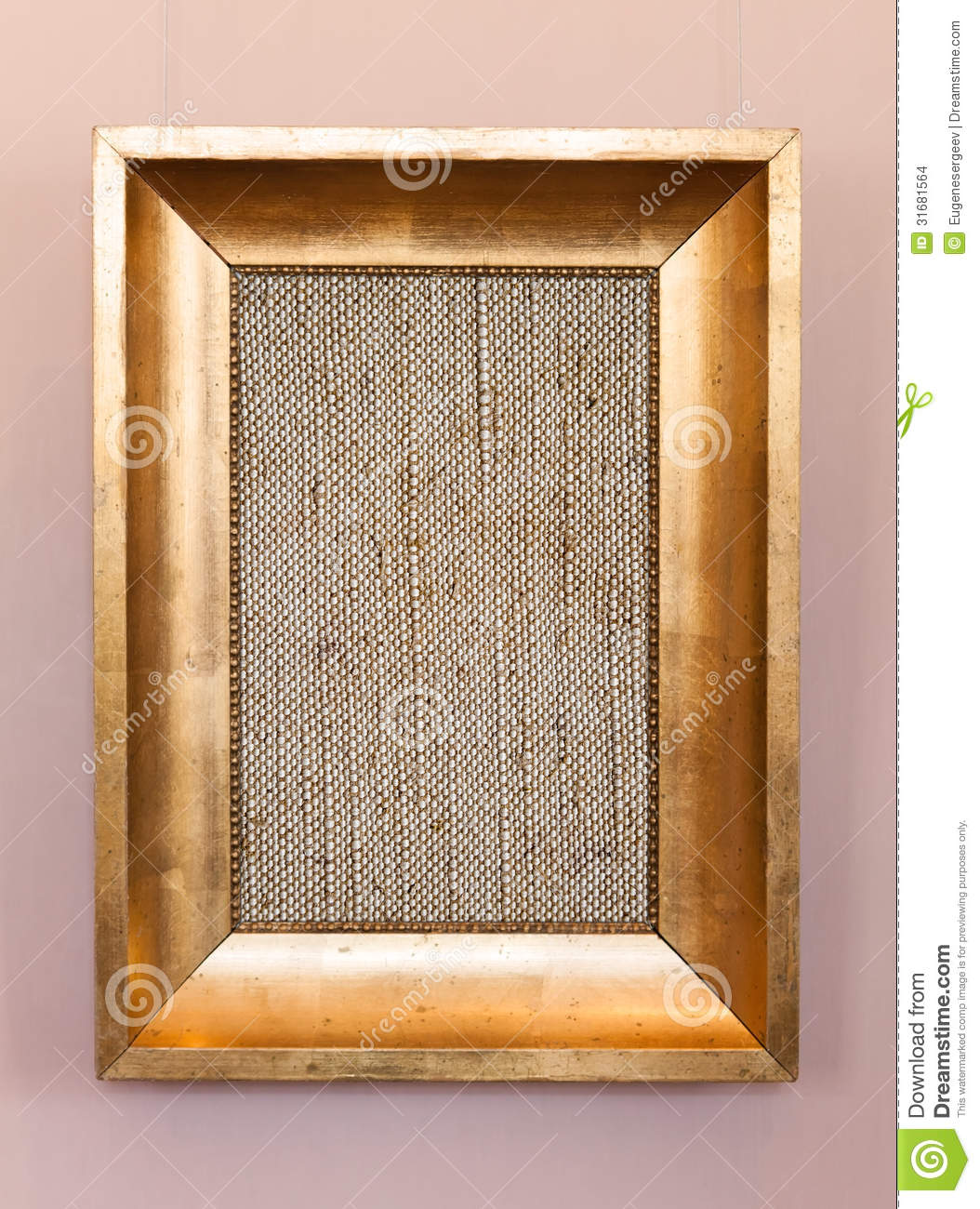 old classical wooden frame with blank canvas stock photo