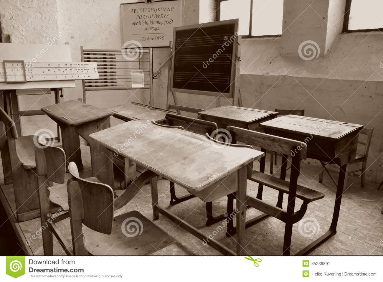 Old Classroom Stock Image Image Of Starting Benches