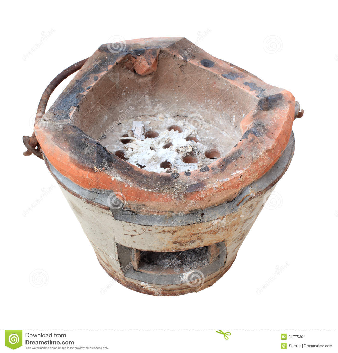 old clay stove thailand traditional cooking white background 31775301