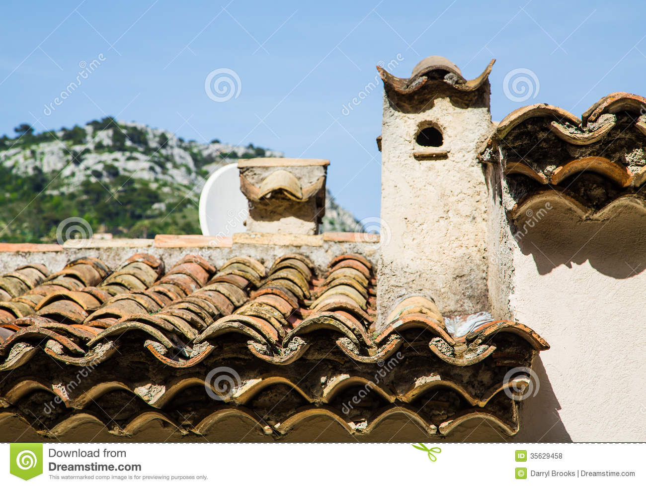 Old Clay Tile Roof And Plaster Chimney Stock Photo Image