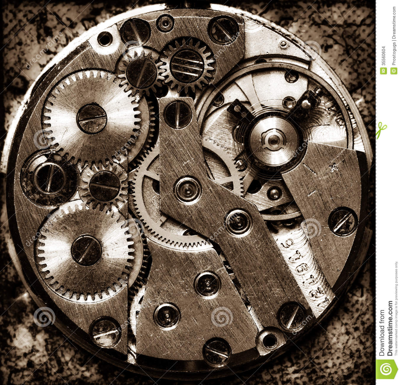 Old Clock Gears : Old clock stock photo image of mechanism power contrast