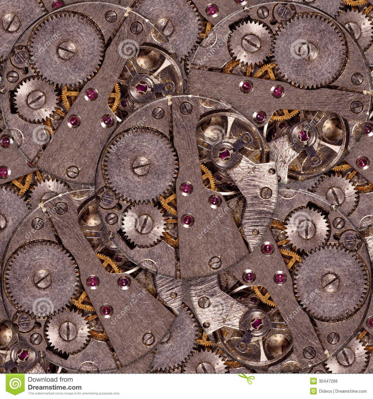 Old Clock Gears : Old clock mechanism with gears royalty free stock image