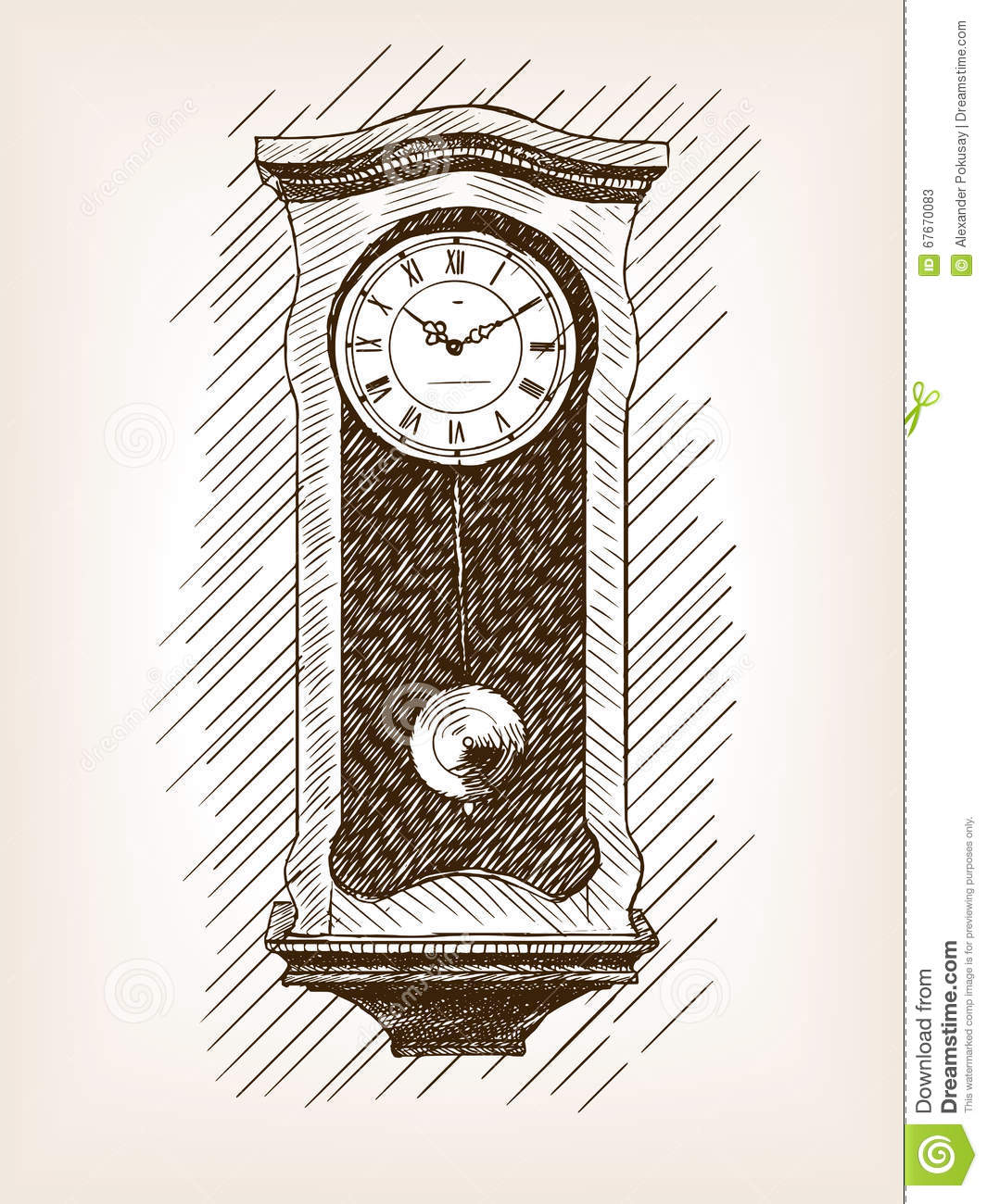 Old Clock With Pendulum Hand Drawn Sketch Vector Stock