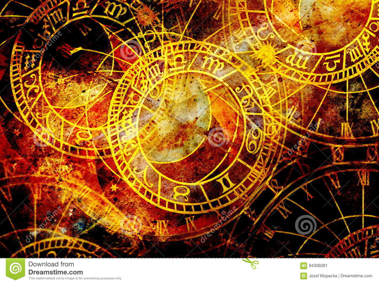 Old Clock And Zodiac Collage  Abstract Color Background  Stock