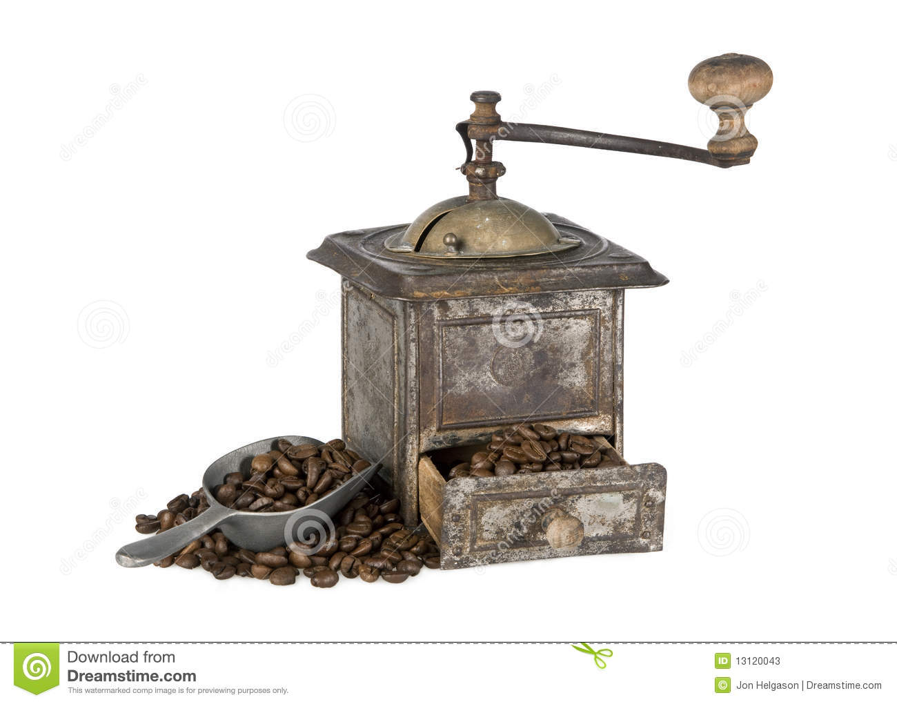 old coffee grinder with coffee beans isolated stock photos Coffee Pouches Old Coffee Grinders