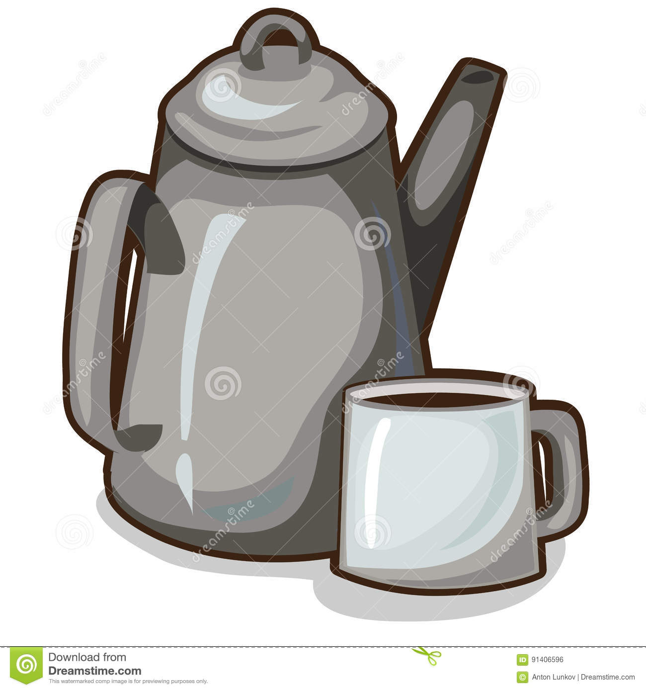 Old Coffee Pot And A Cup Vintage Crockery Vector Stock Vector