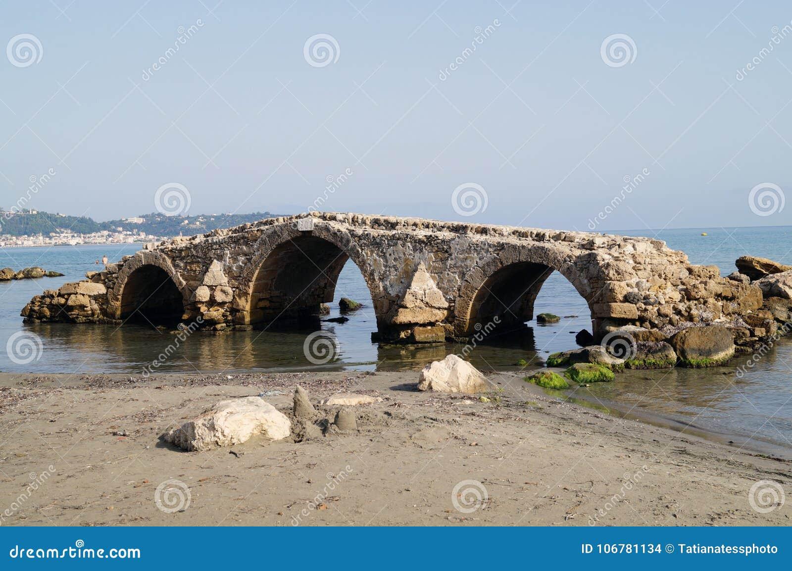 Old collapsing bridge on the island of zakynthos greece...