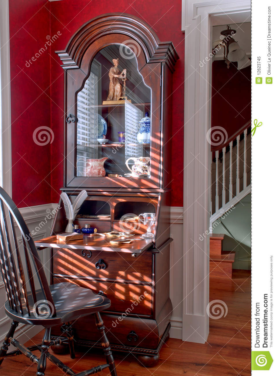 Old Colonial American Style Antique House Interior Stock