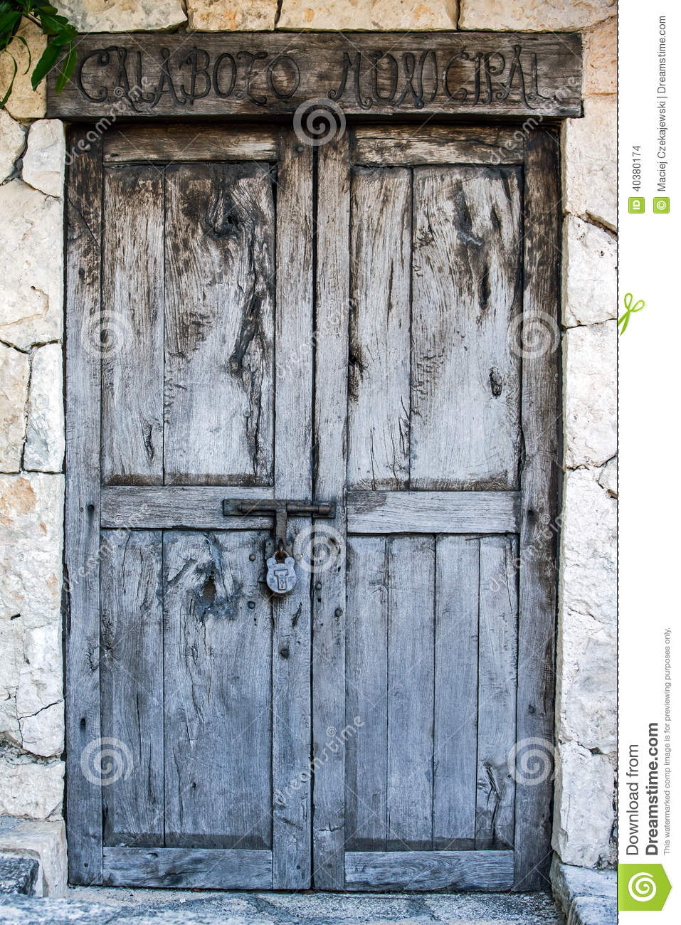 Old Colonial Doors Of Mexican Hacienda Stock Photo Image