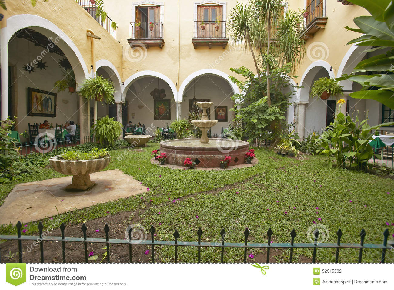 Old Colonial Hotel Restaurant Square With Fountain In Village Of