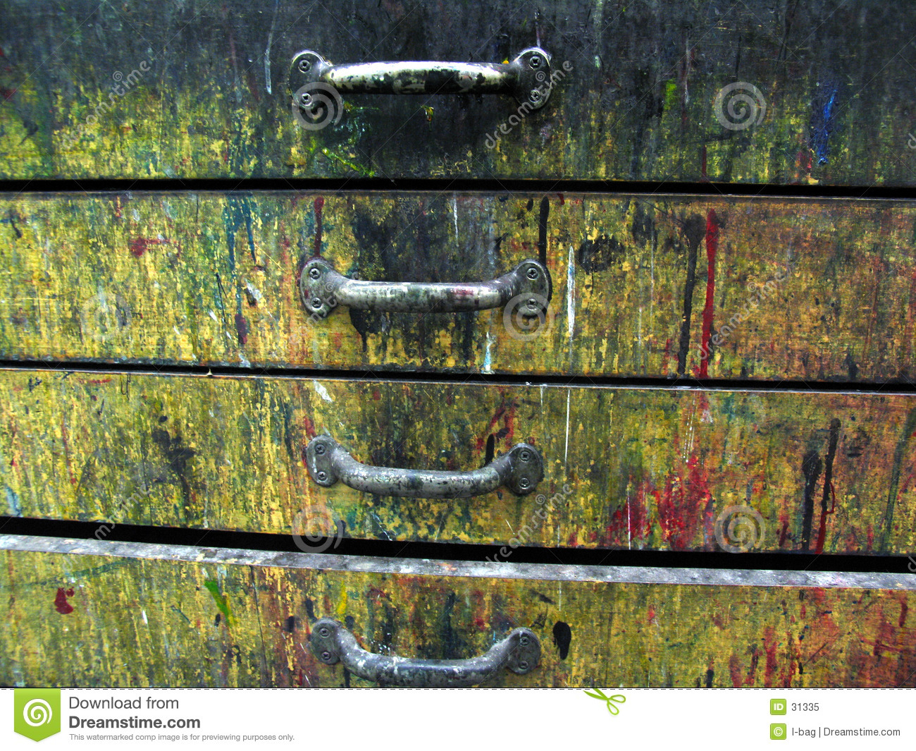 Old colorful drawers