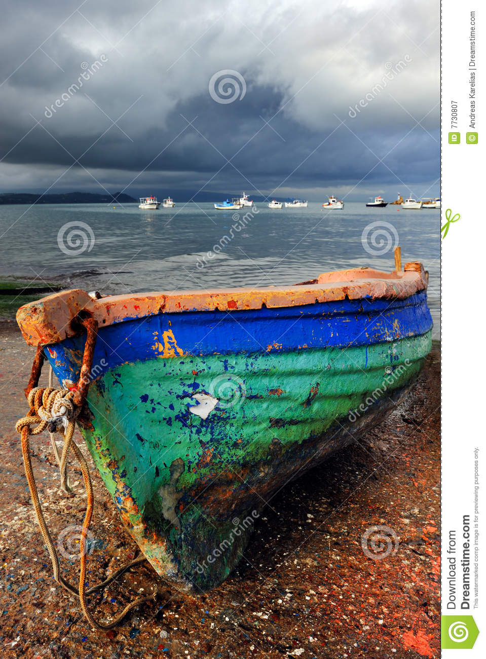 Old colorful fishing boat stock image image of clouds for Old fishing boat