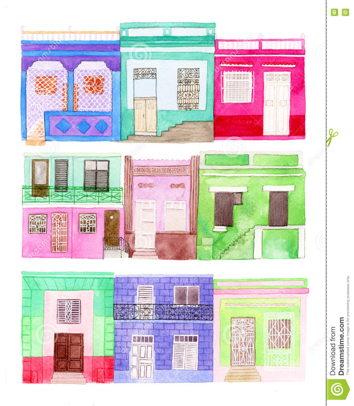 Old colorful house set hand drawn houses different buildings from latin america towns real watercolor drawing