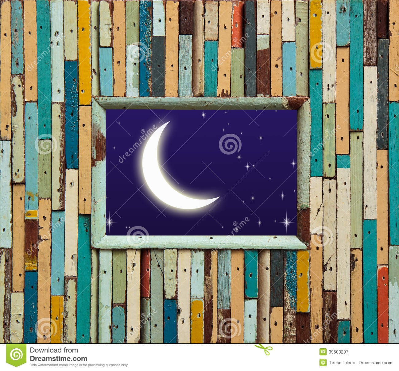 Old colorful wood wall with moon and star