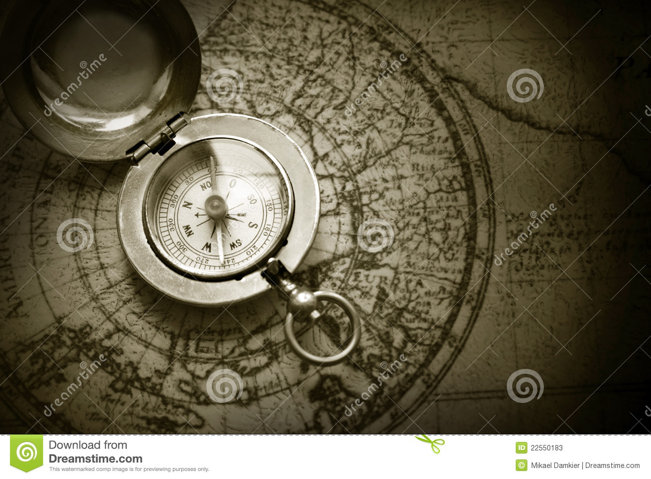Compass And Old Map Royalty Free Stock Photo