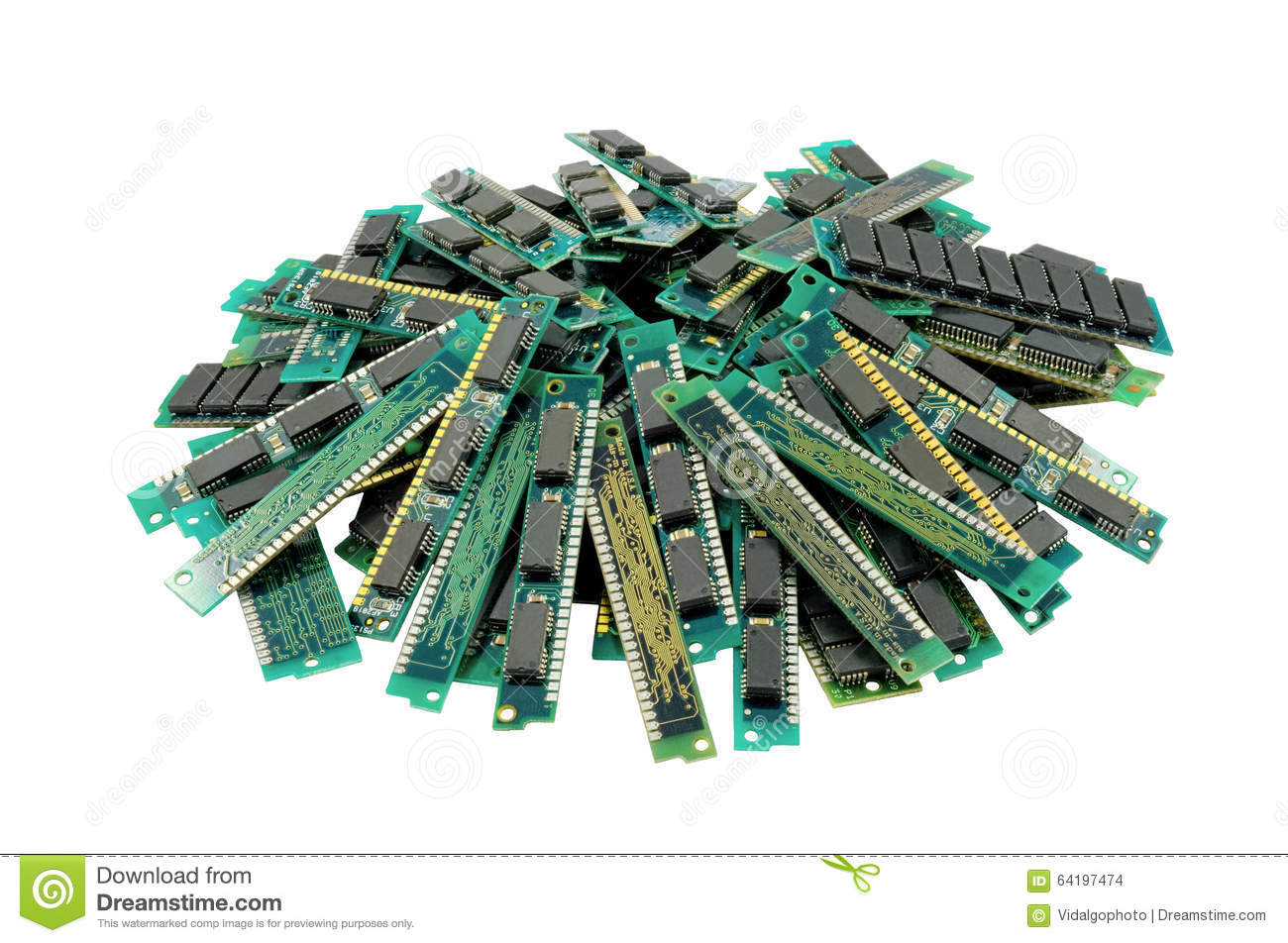Old computer memory modules, isolated