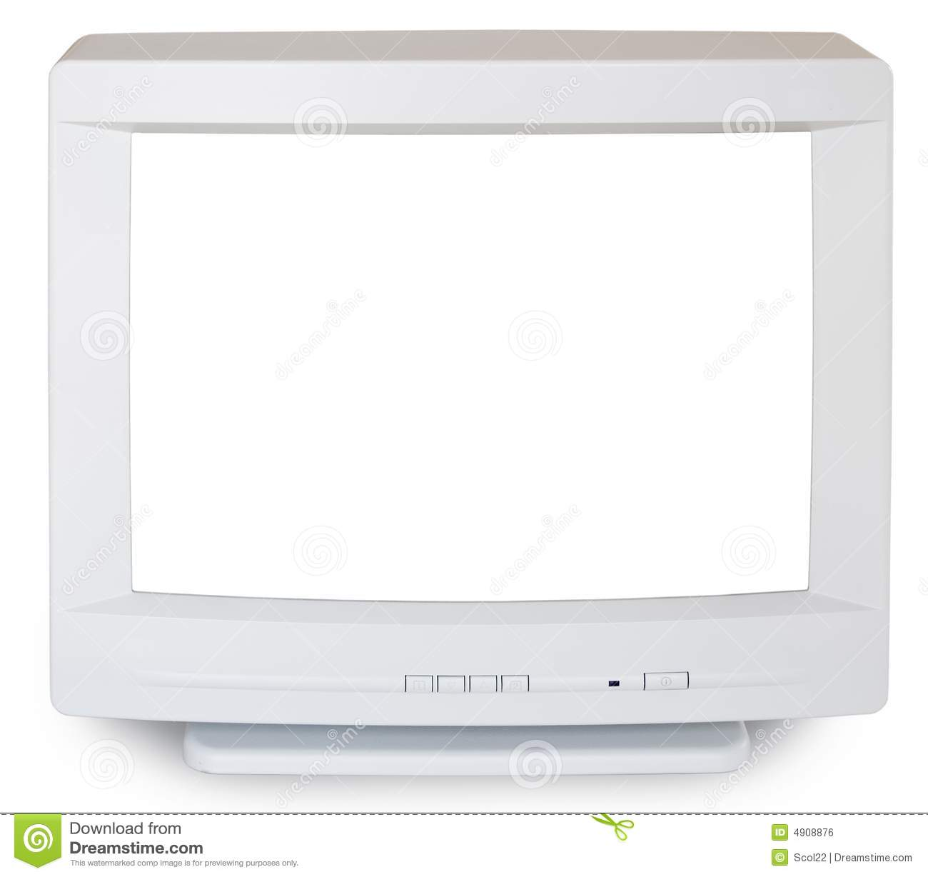 Old Computer Monitor On White Background Stock Photo, Picture And ...