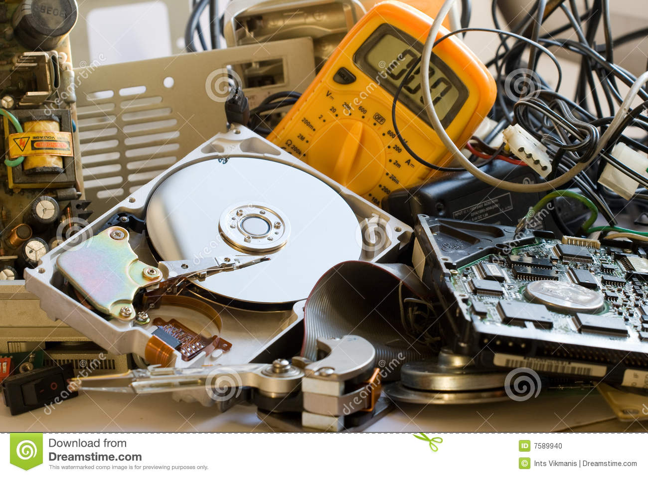 Old Computer Parts Stock Photo Image 7589940