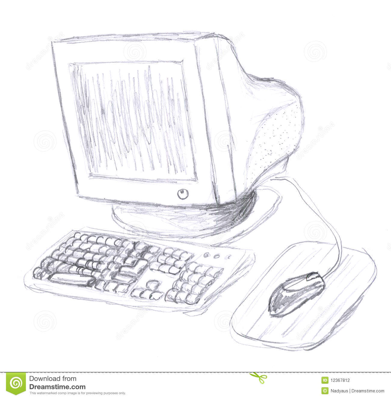 old computer sketch stock photography