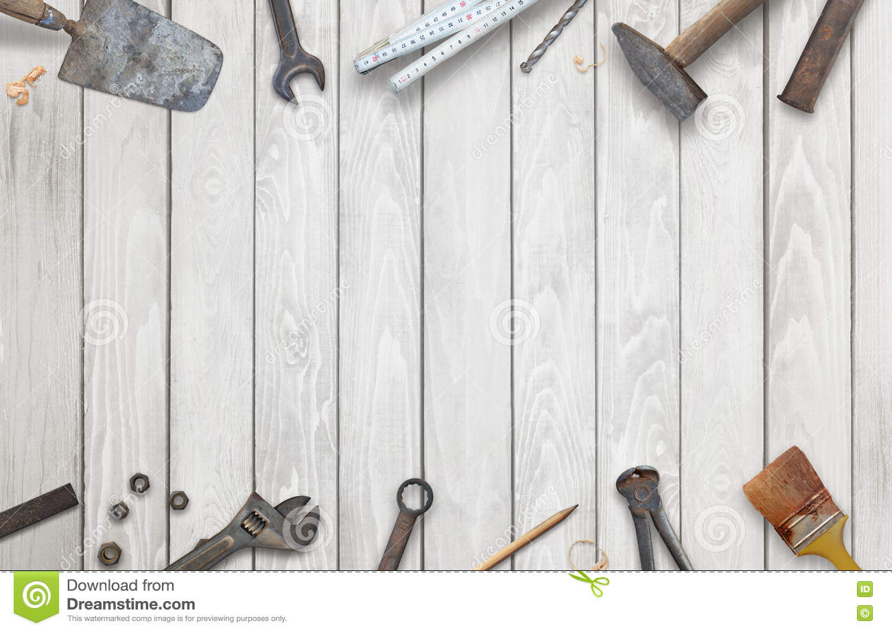 Old construction tools with free space for text