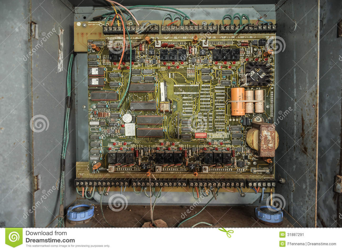 Old Control Panel With Circuits In Metal Box Stock Image