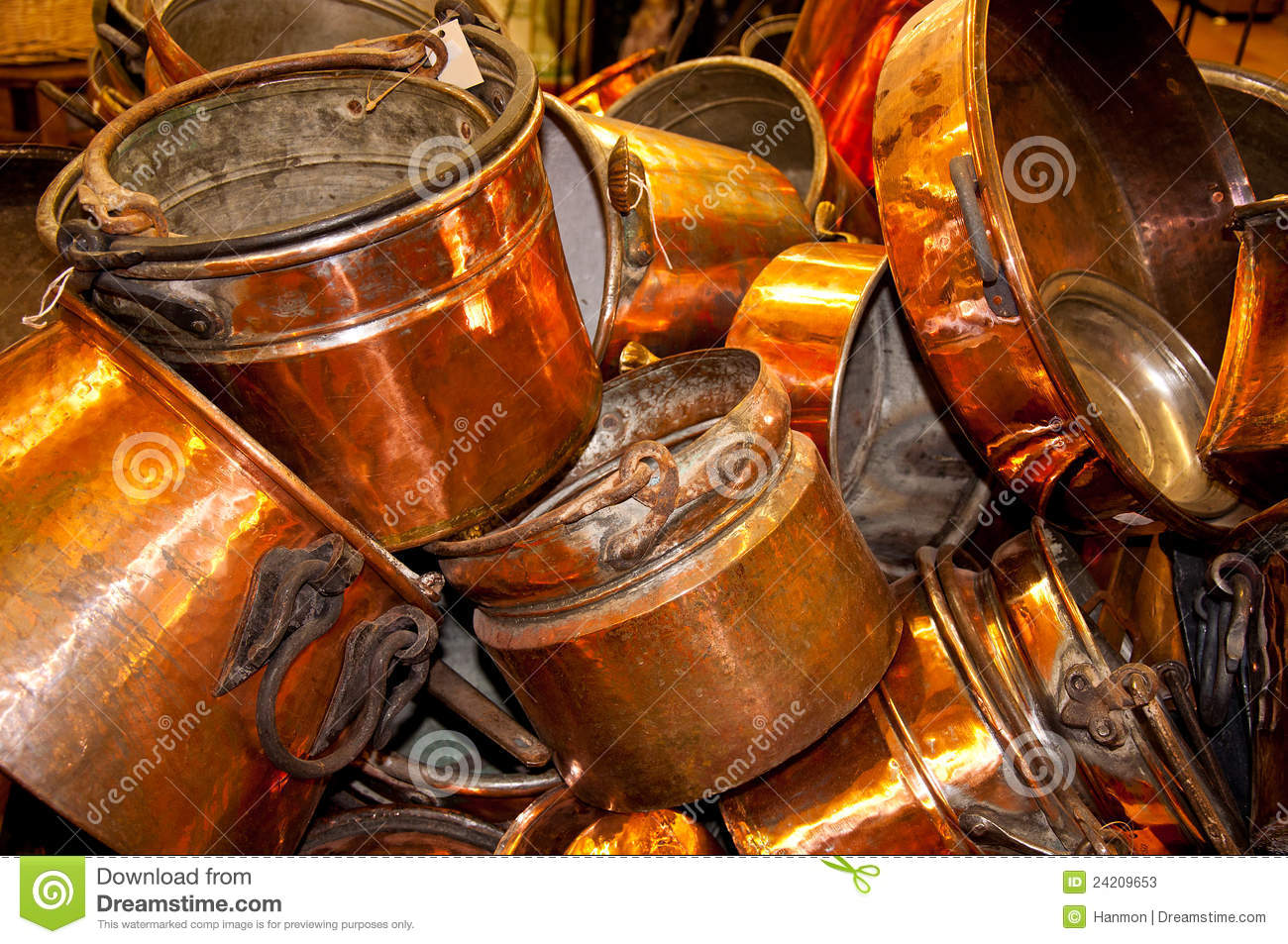 Old cooper pots and pans stock image. Image of stuff ...