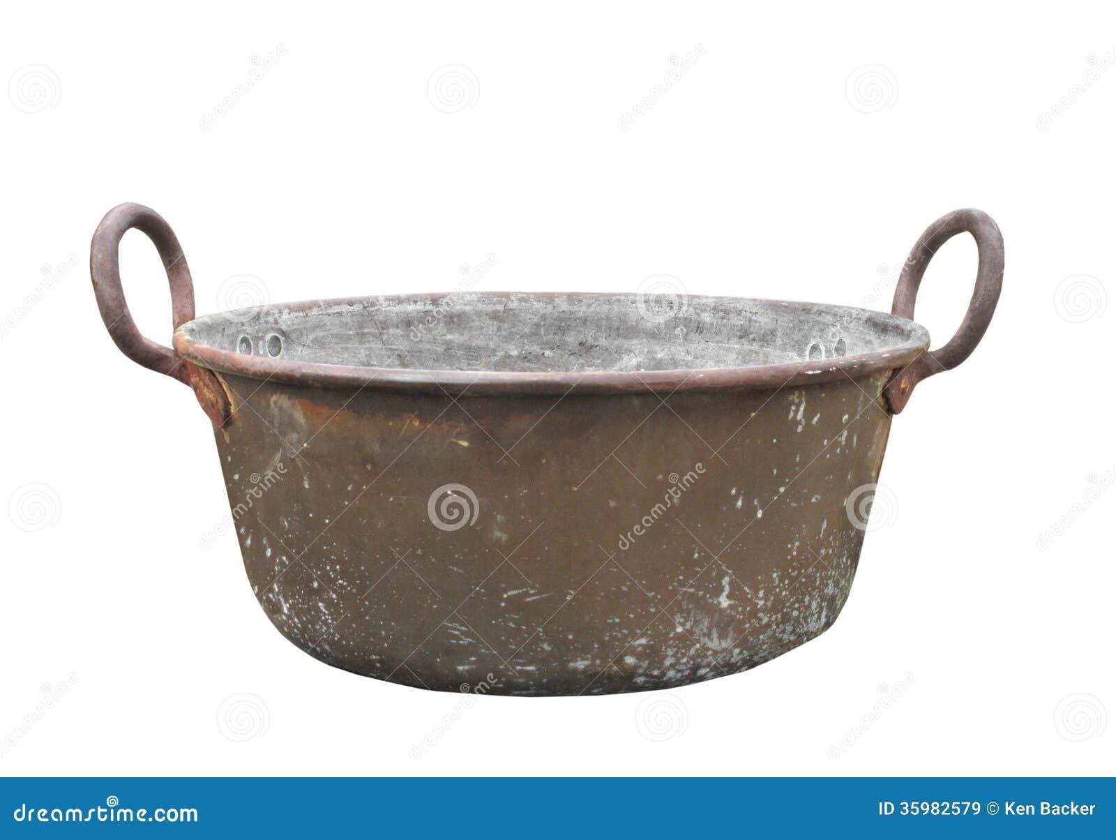 Old Copper Washtub Isolated Stock Image Image 35982579