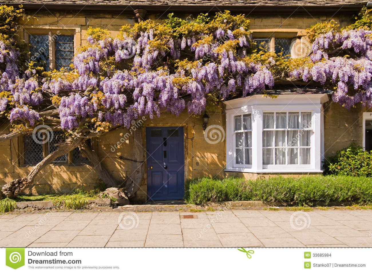 Country House Facade Design Old Country House Facade With Blossoming Wisteria Spring Sunny Day In