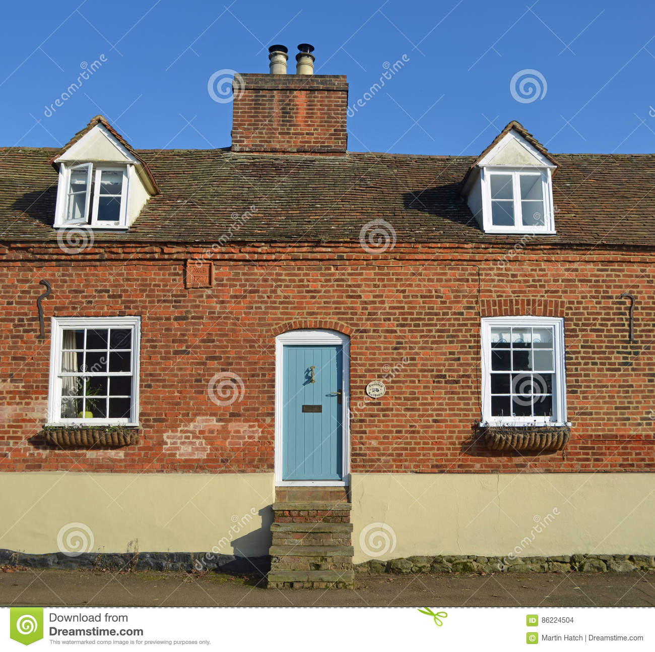 Old Cottage With Steps To A Very High Front Door Editorial Stock