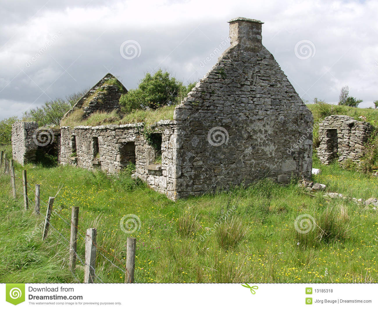 Old Cottage In The West Of Ireland Stock Photo Image Of Left Stone 13185318