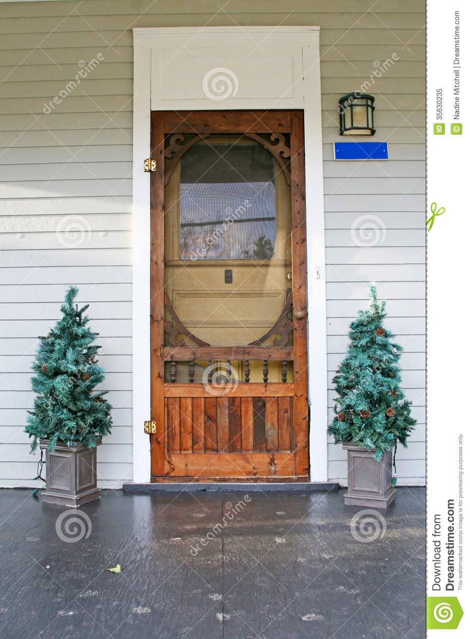 Old Country Door With 2 Christmas Trees On Each Side Stock Image