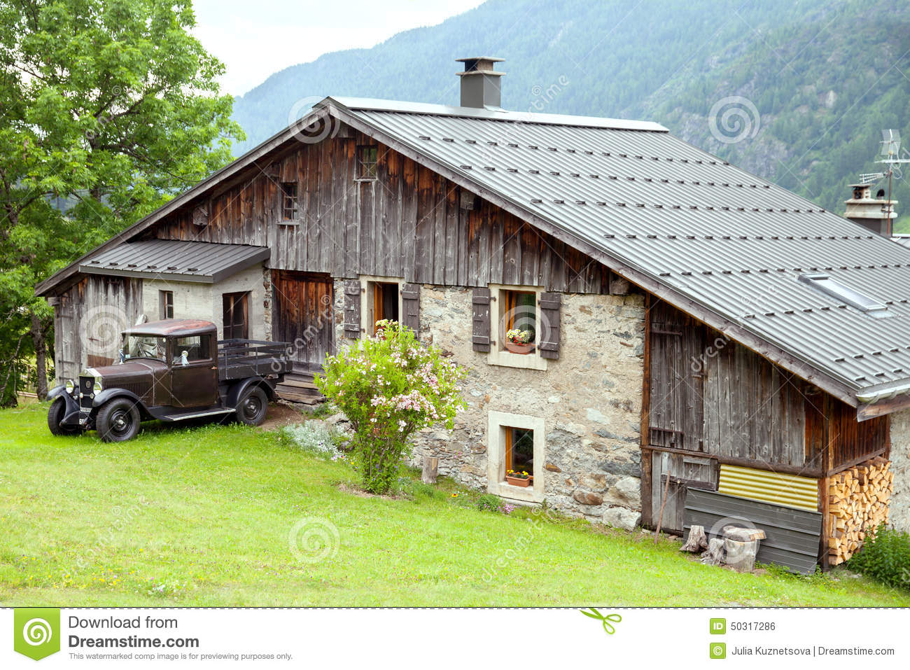 Old Country House And Vintage Car Stock Photo Image - Vintage country house