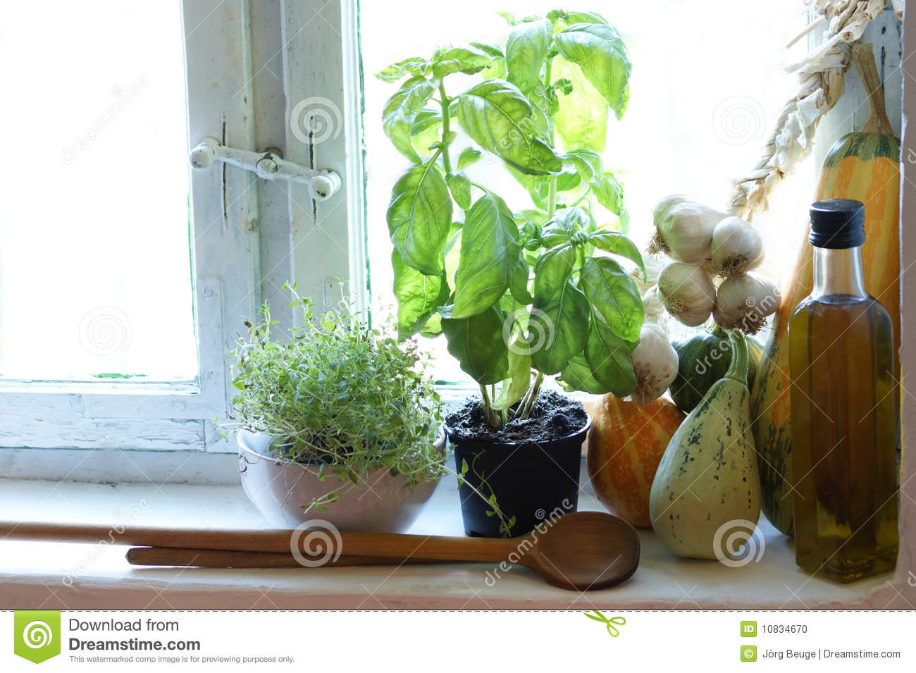 Kitchen Window Old Country Kitchen Window With Herbs Stock Photo Image 10834670
