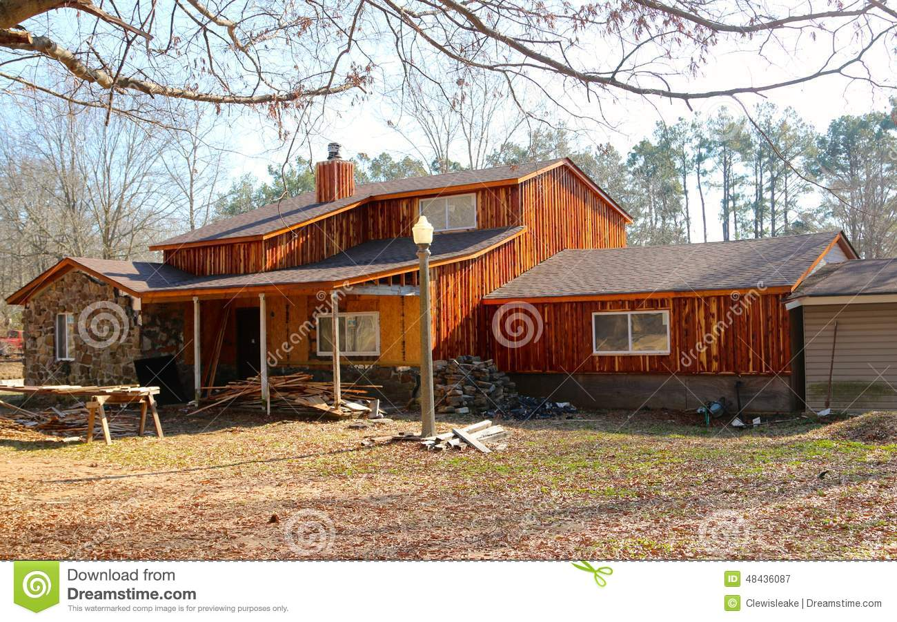 An Old Country Ranch Style With Rustic Wood Siding Stock