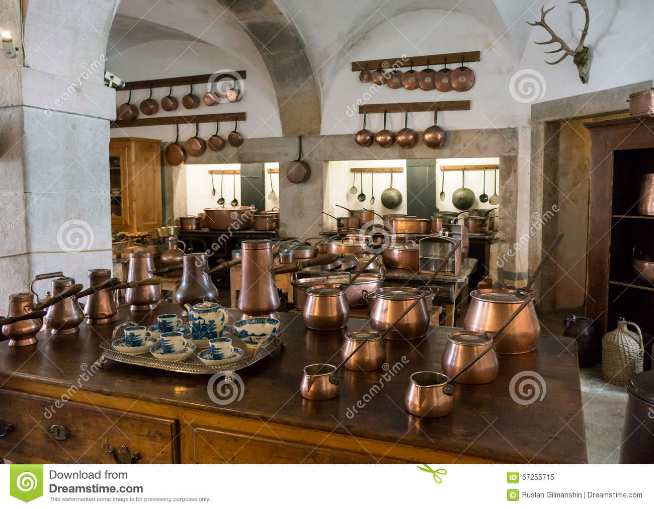 Old country style kitchen with copper pots stock image for Anciens livres de cuisine