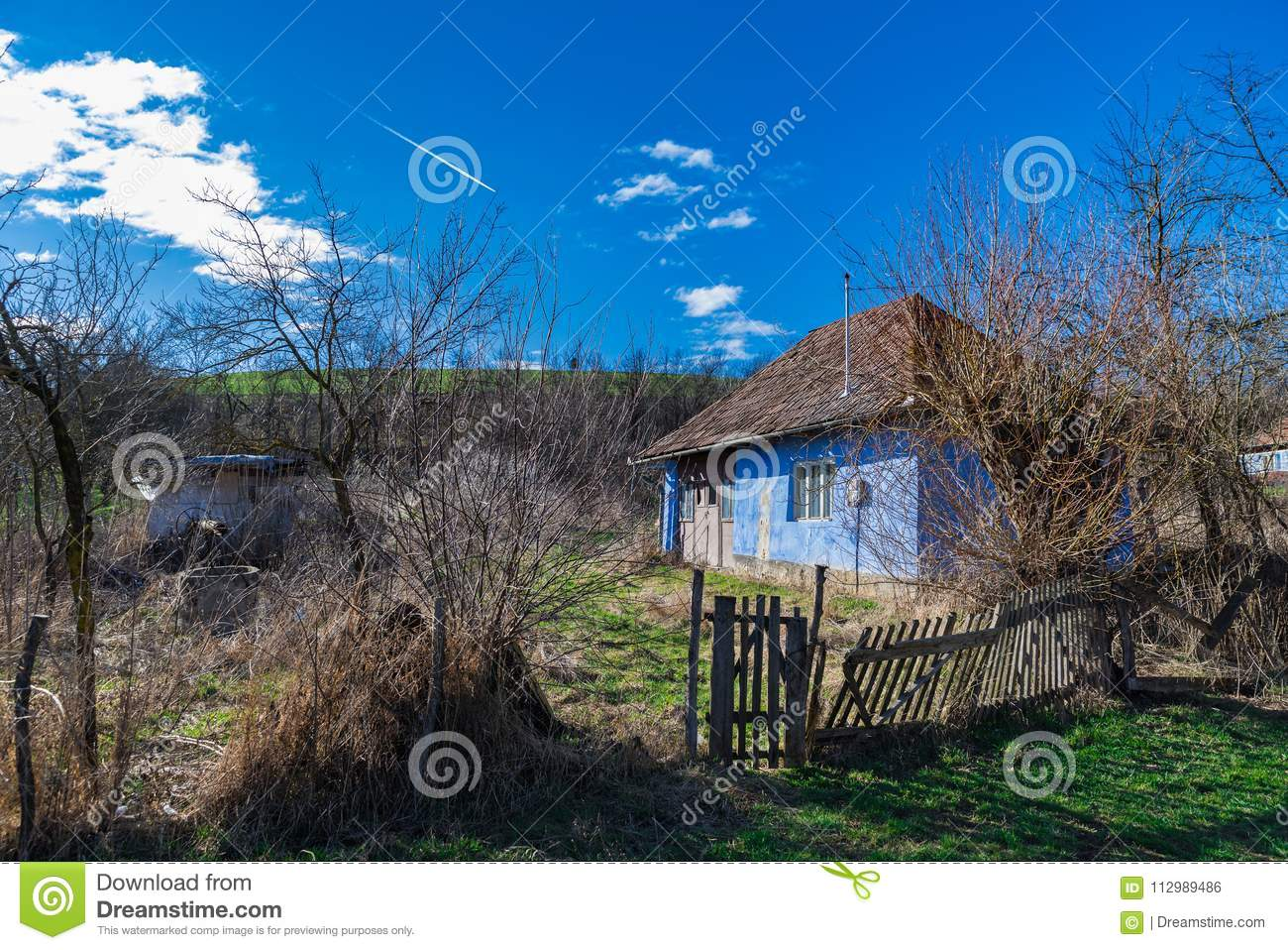 Old countryside Abandoned house blue sky