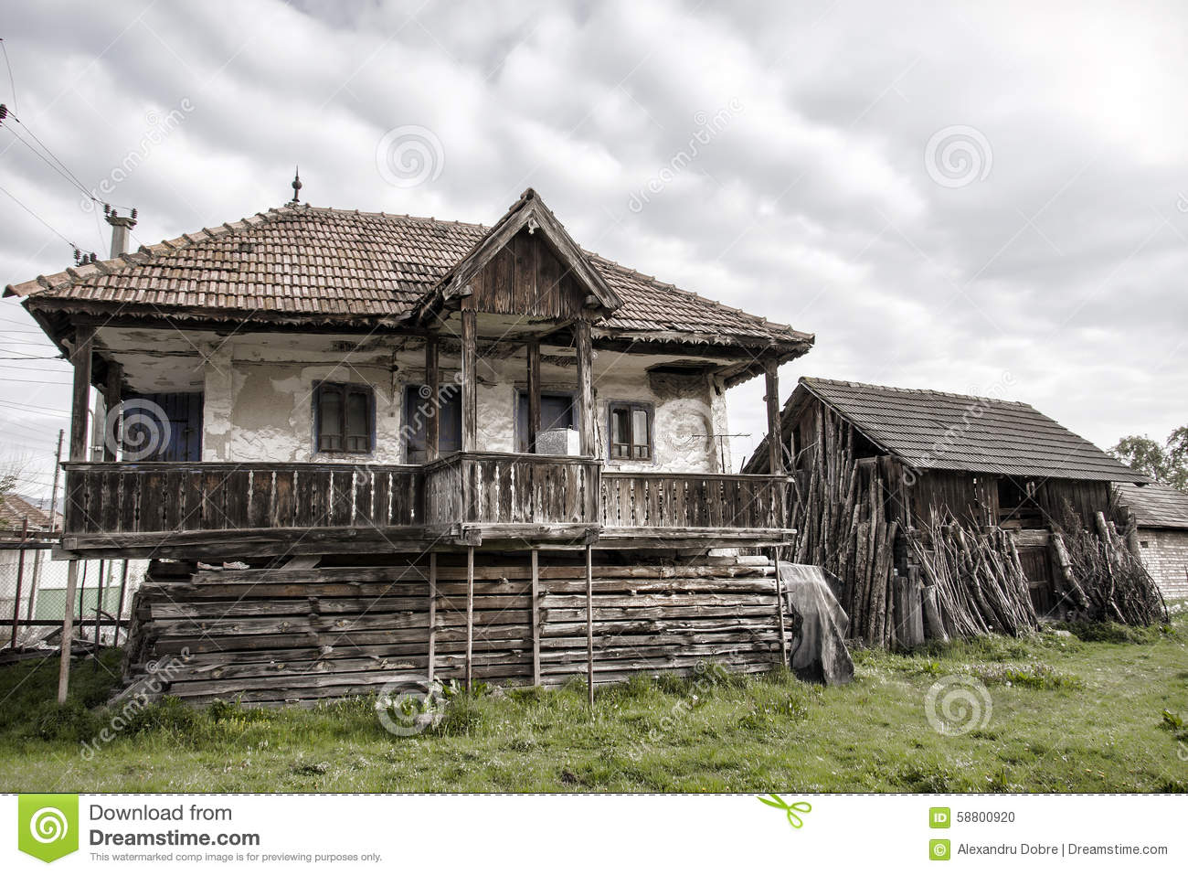 Old Countryside House And An Old Barn In A Romanian