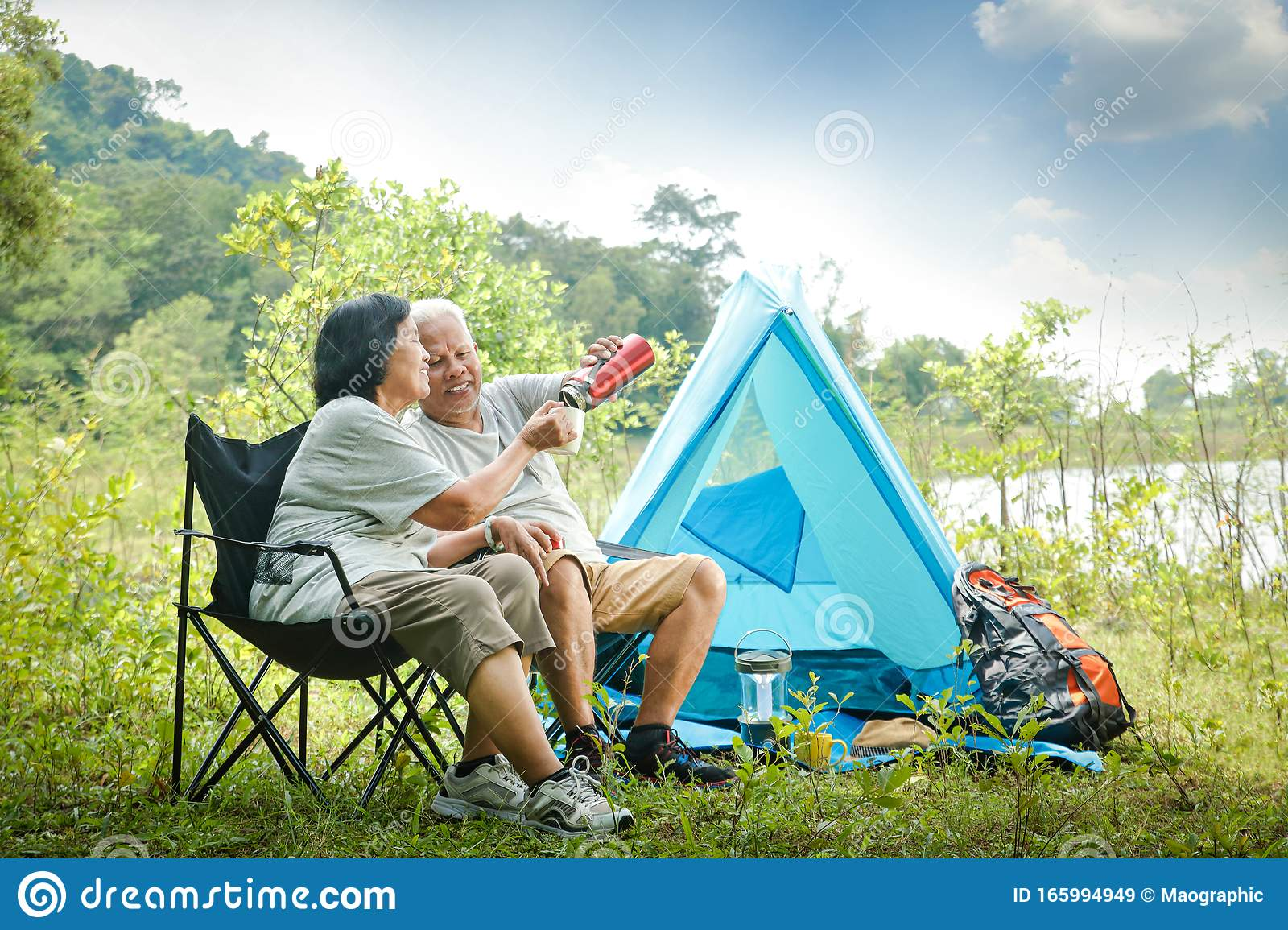 The Old Couple Camping In The Forest To Relax In Retirement Stock Image -  Image of couple, adventure: 165994949