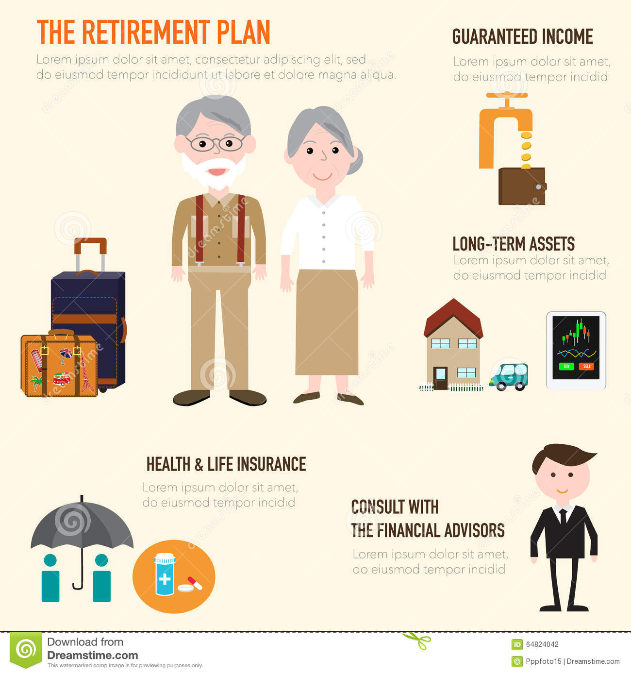 Old Couple People In Retirement Plan Infographics Elements