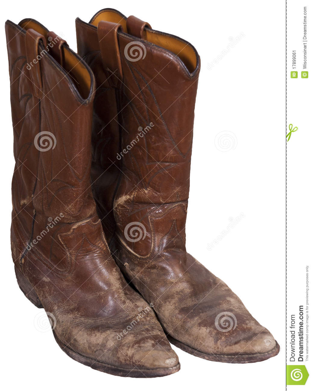 Old Cowboy Boots, Western Wear, Isolated On White Stock Image ...
