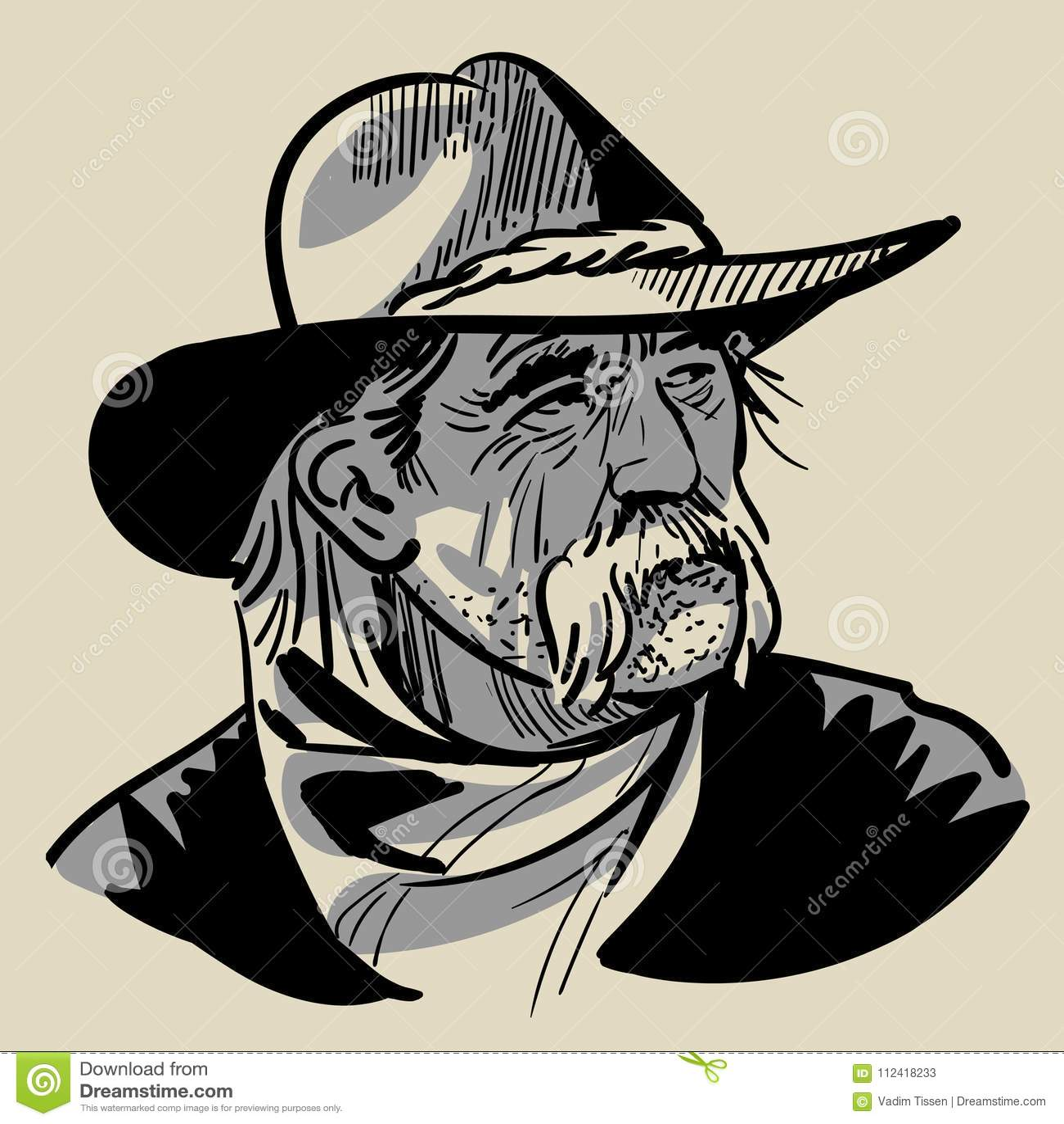 5ba0757efe5 Old Cowboy With A Hat. Portrait. Digital Sketch Hand Drawing Vector ...